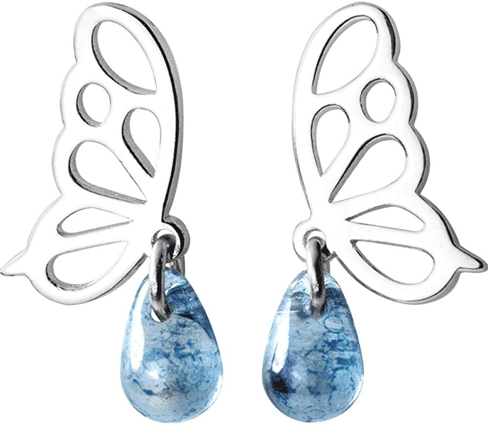 AAAA Pendientes pendientes femeninos de plata de ley 925 con mariposa hueca azul adecuados para adolescentes niñas amigos niños damas