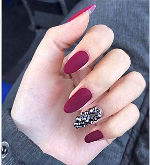 JIN HUA-Fake nails Uñas postizas 10 Piezas Hechas a Mano 3D Rojo ...