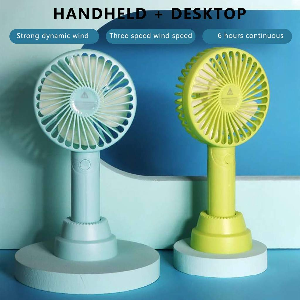 Blue Mini Handheld Fan Personal Portable Fan 3 Speed Adjustable Angle Removable Base USB Recharging Battery Operated Small Desk Cooling Face Fan for Home Camping Travel