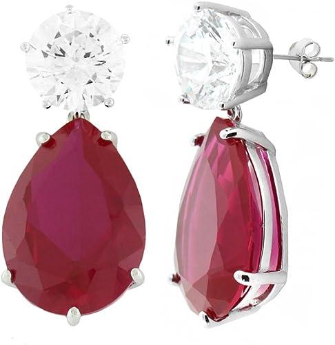 Ruby Pear Shaped Sterling Silver Earrings
