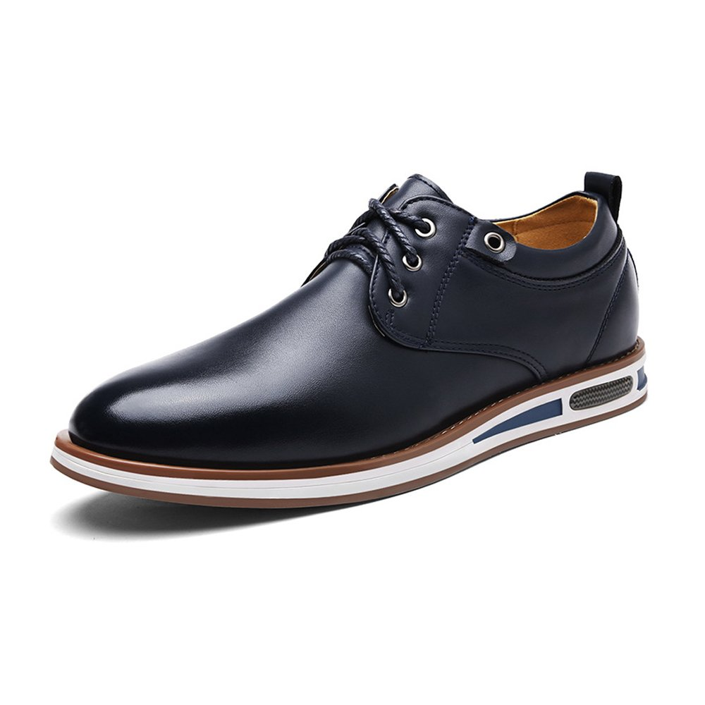 Douhuayu Mens Round Toe Shoes Matte PU Leather Upper Lace up Flat Sole Breathable Lined Oxfords