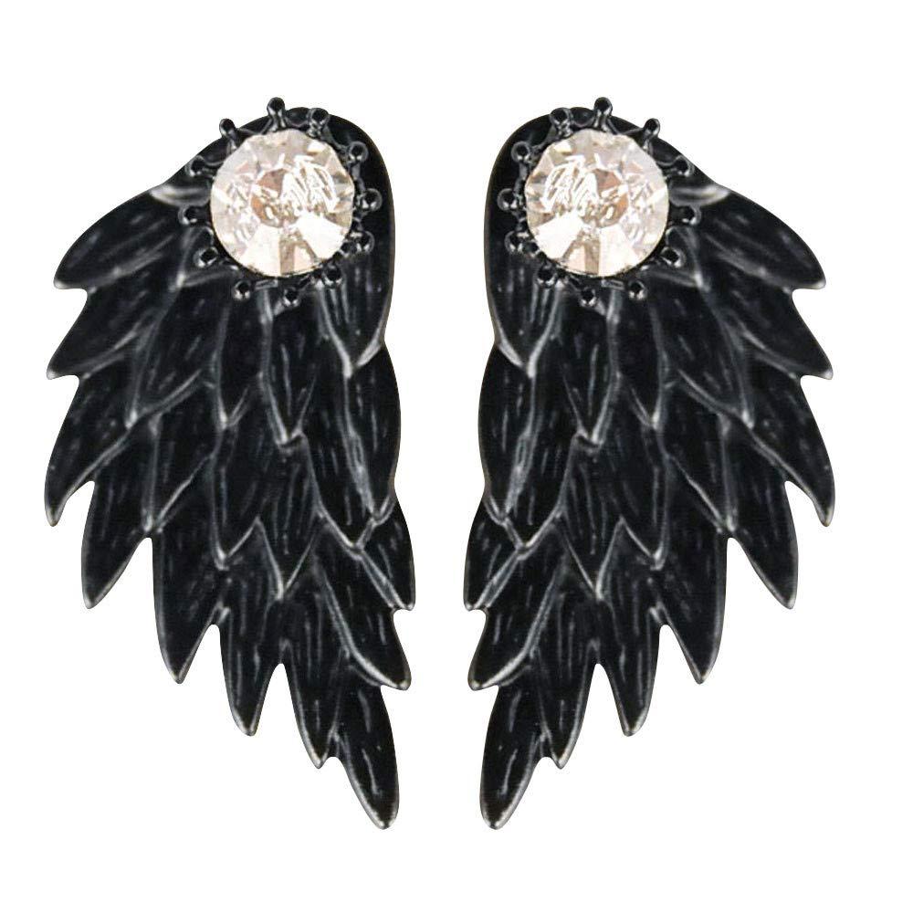 Women's Cool Jewelry Angel Wings Rhinestone Alloy Drop Stud Earrings Hanican, A