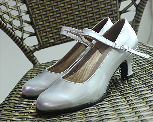 Closed Leather Modern Women's Latin PU Suede Kitten Toe Outdoor Shoes Flared Silver Dance Heels staychicfashion Heel CvXIqxndvw