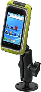 RAM MOUNTS (RAM-B-138-AQ7-2 Flat Surface Mount with Aqua Box Pro 20 Case, Cradle Clip, Belt Clip, Belt Clip Button and Lanyard for The iPhone 5, 4 & 3 with Or Without Case, Skin Or Sleeve