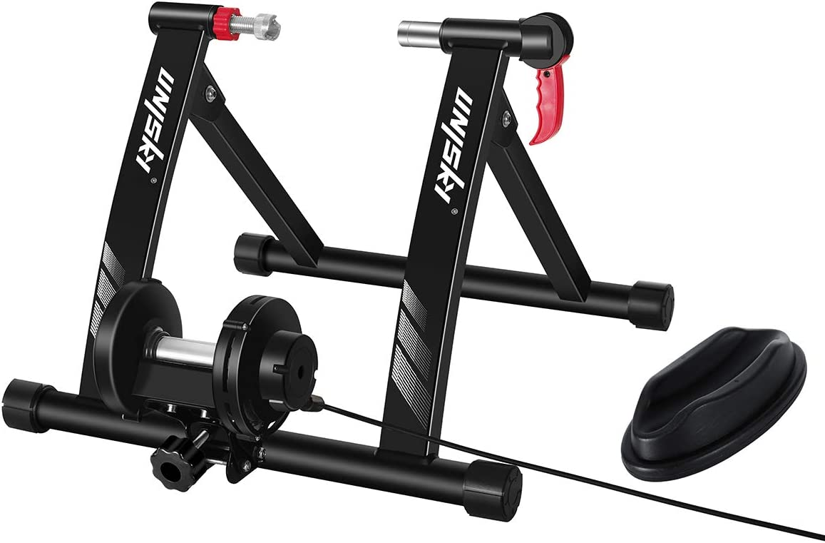 unisky - Rodillo de entrenamiento magnético con 6 ajustes de resistencia para hacer ejercicio en interiores con bicicleta de montaña y carretera