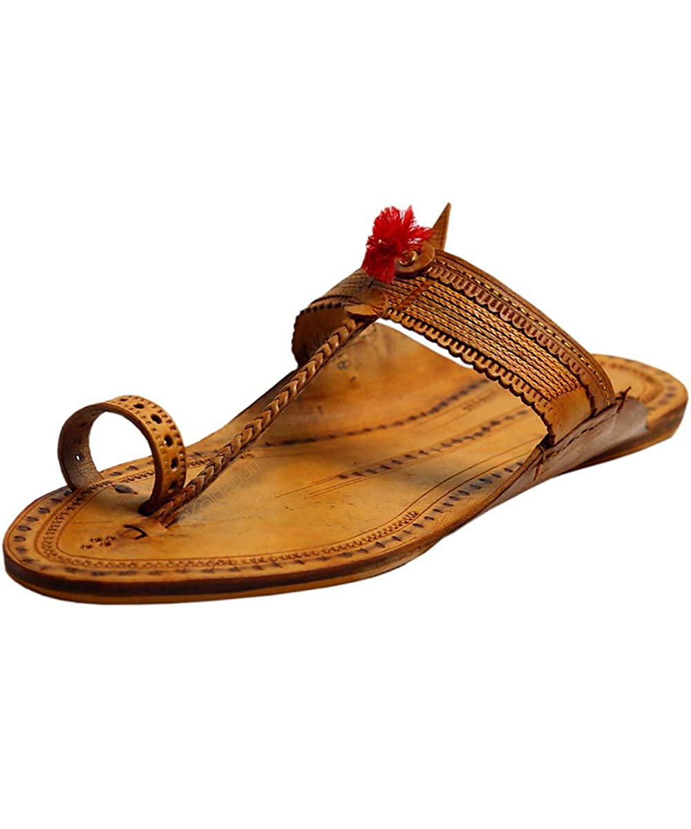 a9e05a466fc6d eKolhapuri Handmade Authentic Genuine Leather Light Yellow Typical Kolhapuri  Chappal with red gonda for Women Size US-5  Amazon.in  Shoes   Handbags