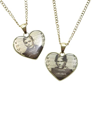 b8c73ca0ae05 Image Unavailable. Image not available for. Color  Supernatural Sam   Dean  Mugshot Hearts Necklace Set