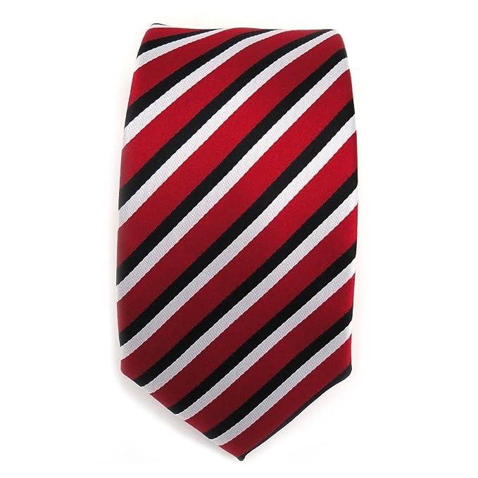 TigerTie - corbata estrecha - rojo carmín negro blanco rayas ...
