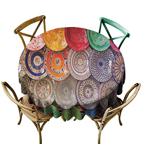 - round tablecloth 54 inch Moroccan,Traditional Arabic Handcrafted Colorful Plates Shot at the Market in Marrakesh, Multicolor Dust-Proof Table Cover for Kitchen Dinning Tabletop Decoration