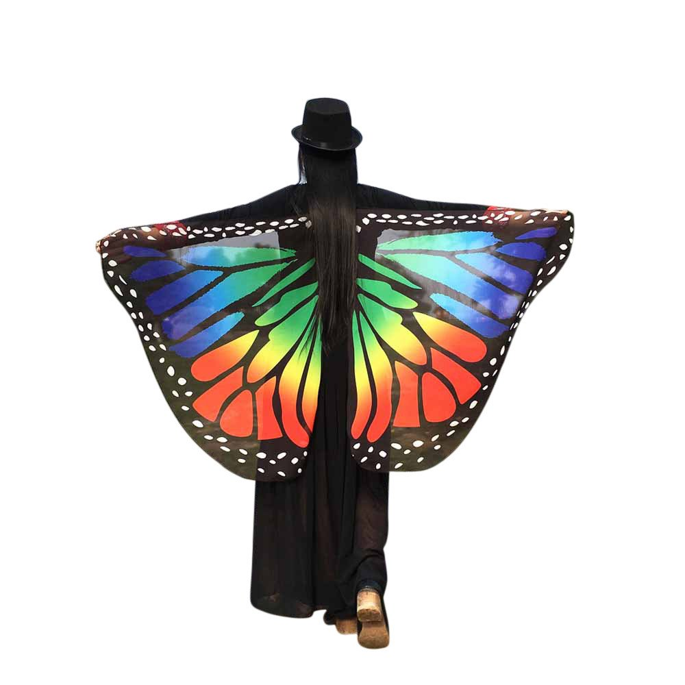 WOCACHI Vanlentine Day Halloween Costume Butterfly Wings Scarves, Women Cloak Cape Poncho Pixie Party Show