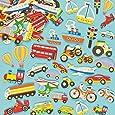 Lot de 108 Autocollants en Mousse - Motif Moyens de Transport - Idéal pour les activités de collage