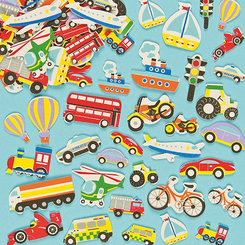 Baker Ross Transport Foam Stickers (Pack Of 108) For Kids Arts and Crafts