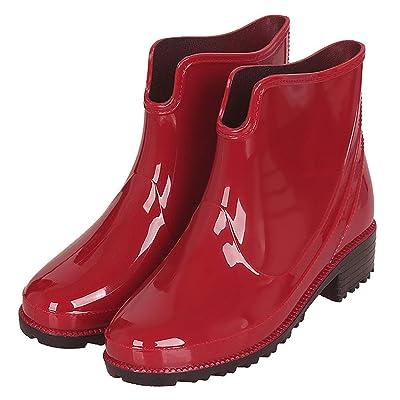 Women's Wellington Boots Waterproof Rubber Rain Boots Outdoor Anti-Slip Work Garden Shoes Red | Rain Footwear