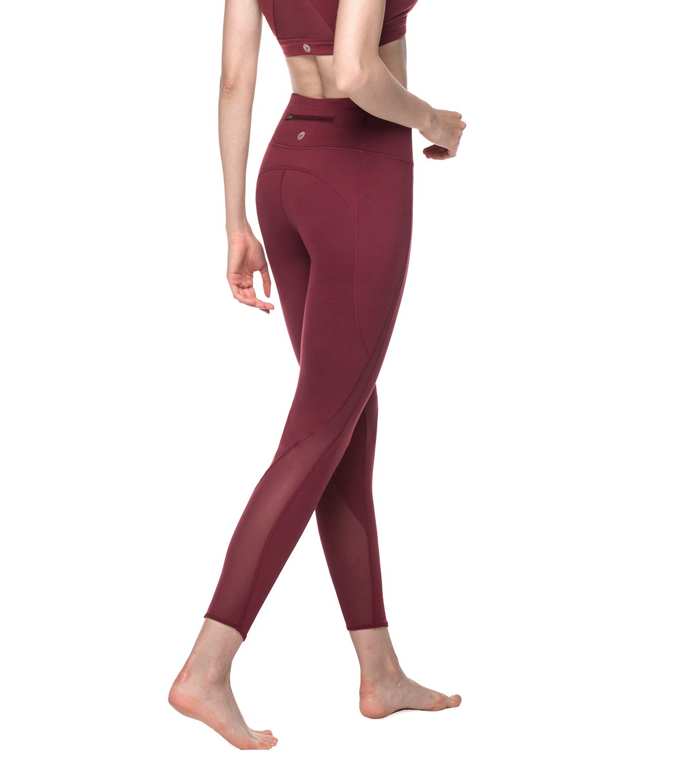 Lapasa Women's Leggings - TUMMY CONTROL - High Waist with Mesh Panels - Yoga Pants, Running, Gym & Workout - Hidden Pocket - L22