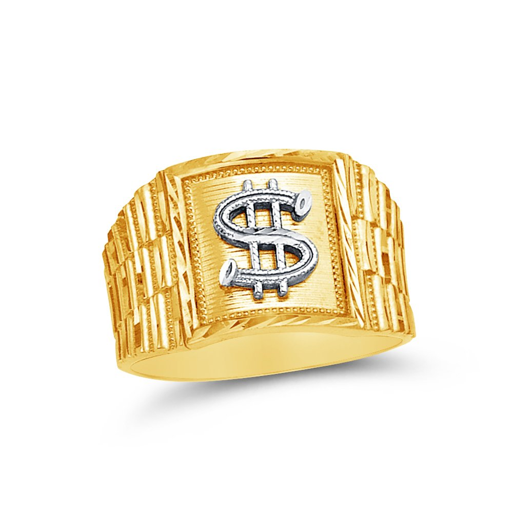 Jewel Tie Solid 14k Yellow Gold Mens Cash Money Dollar Sign Ring Size 10