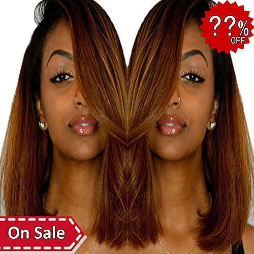 Orange Bundle - Ombre Brazilian Straight Hair Bundles - ORANGE STAR 2 Tone Remy Human Hair Extensions 1b/30 Natural Black To Auburn Brown Weave Weft Bundles 100g/pack For Women