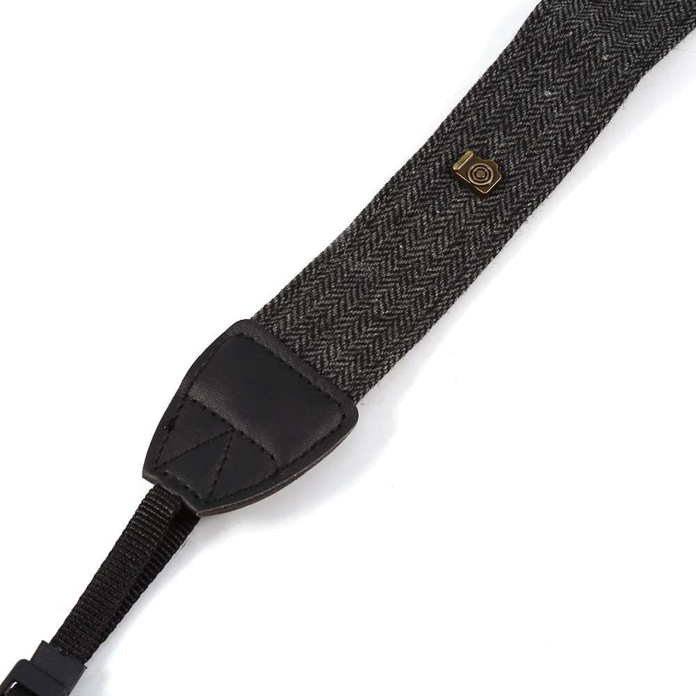 Color : Charcoal Grey Classical Cotton /& PU Leather Neck Shoulder Strap for SLR DSLR Cameras Camera Shoulder Neck