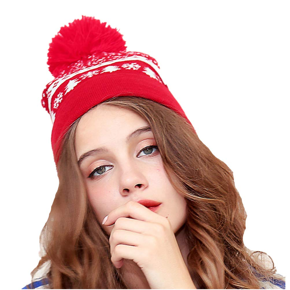 Christmas Hats Winter Soft Stretch Cable Knit Beanie Ski Cap for Women Pompom Thick Soft Warm Winter Hat