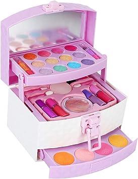 Juego de Maquillaje Lavable para niños, Kit de Moda de Belleza Juguete de cosméticos solubles en Agua de ensueño Mini Caja de Maquillaje Regalo de cumpleaños para niños: Amazon.es: Juguetes y juegos