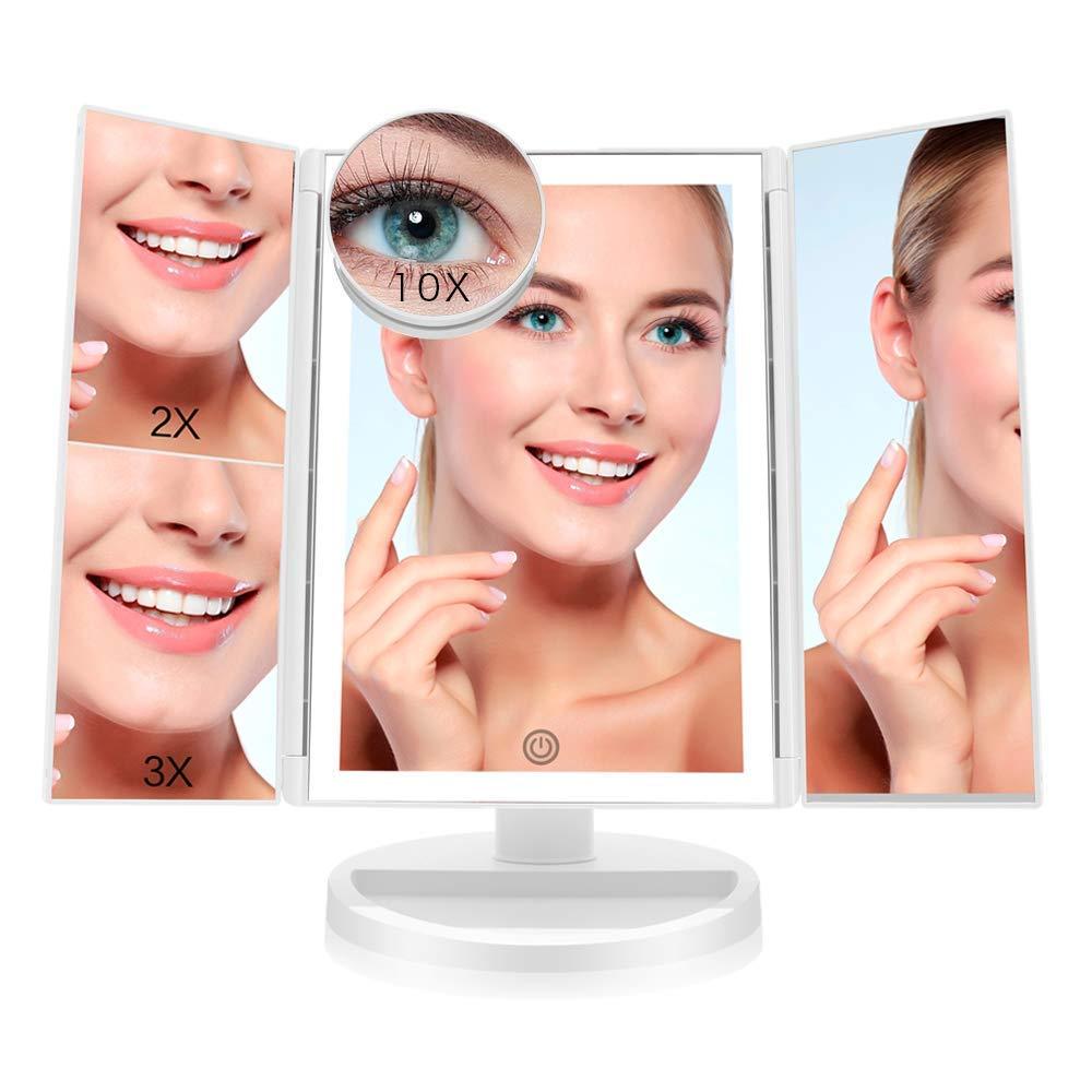 FASCINATE Miroir Maquillage Avec éclairage Miroir Cosmétique LED Triple 1 x/3 x/5 x/10 x Grossissement 36 LED Lumineux Naturel, Rotation 180 ° Trifold Miroir Cosmétique de Table,UV de Protection,Alimentation avec USB et Batteries(White) FASCINATE IN MIRROR