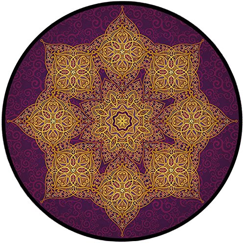 Printing Round Rug,Gold Mandala,Eastern Style Graphic Pattern Antique Delicate Blossoms Persian Cultural Decorative Mat Non-Slip Soft Entrance Mat Door Floor Rug Area Rug For Chair Living Room,Purple