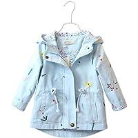 PanpanBox Abrigo con Capucha Bebé Niñas Floral Imprimen Chaqueta Trenca Cintura Ajustada Parka con Cremallera Primavera…