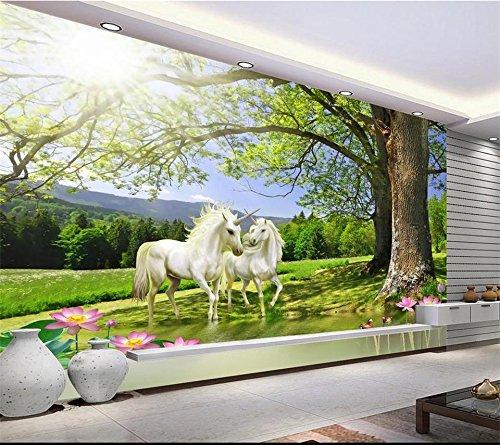 Yosot 3D Tapeten Eigenes Foto Wandbild Wohnzimmer Sonnenschein Baum Lotus Einhorn Malerei Tv Hintergrund Vliestapeten Für Wände 3D-200Cmx140Cm