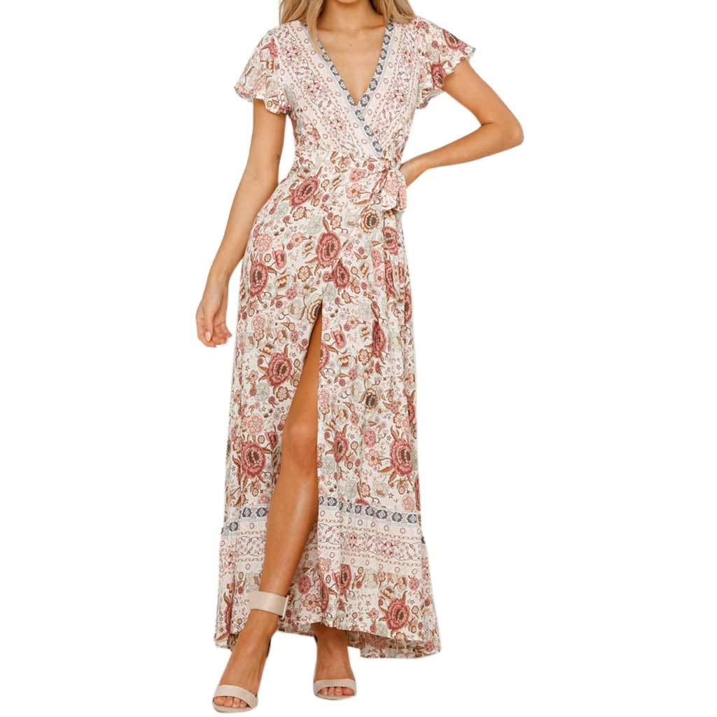 Corriee Women's Sexy Deep V Neck Backless Floral Print Split Maxi Party Dress Womens Boho Long Dress Sundress White