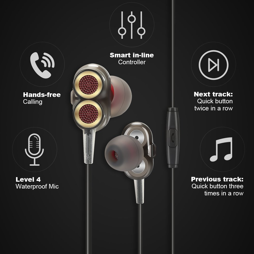 JH-LI HIFi In-ear Stereo Headphones with Dual Drivers Earbuds High-fidelity Audio and Deep Bass Wired Earphones with Mic for Hands-free Calling, 3 Set of Silicone Ear Cap, Black 3.5mm Jack
