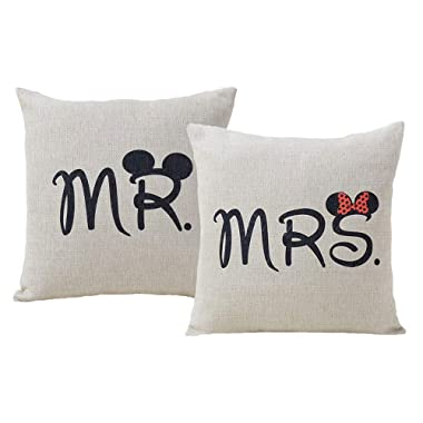 Set of 2 Jahosin Throw Pillow Covers 18 X 18 Inches ,Decorative Couple-Love Cushion Case (Mr and Mrs)