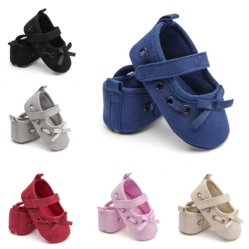 Alamana Fashion Infant Baby Girls Solid Color Bowknot Soft Sole Prewalker Toddler Shoes Gift White 13cm