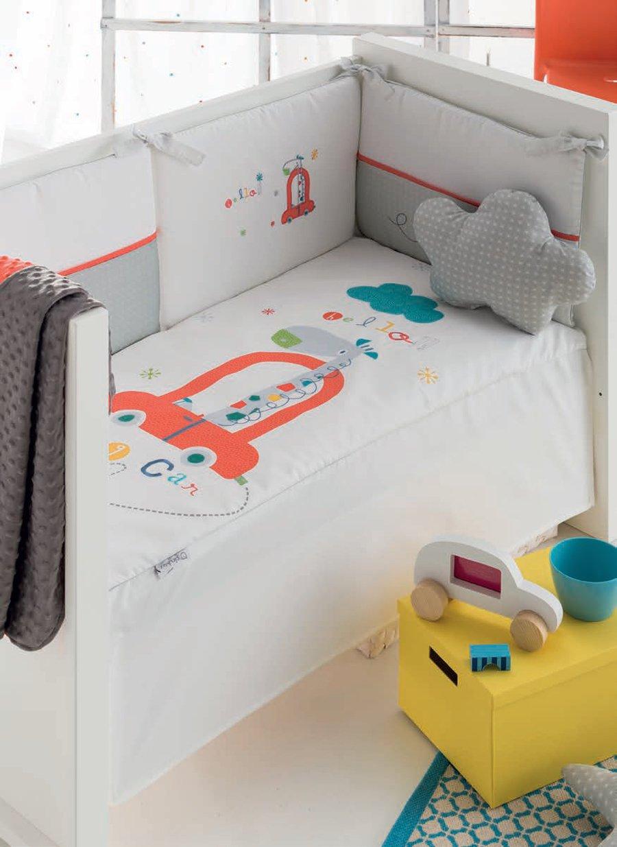 pirulos 21013010–Bettbezug, Displayschutzfolie und Kissen mit Motiv Big denn, 62x 125cm, weiß und grau