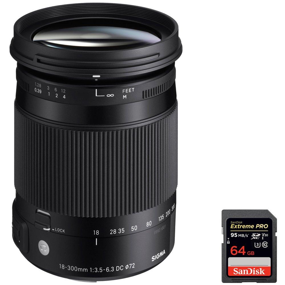 Sigma ( 886 – 205 ) 18 – 300 mm f3 . 5 – 6.3 DCマクロHSM a-mountレンズ( Contemporary ) for Sony Alpha Cameras + SanDisk Extreme Pro SDXC 64 GB UHS - 1メモリーカード B079NHWGZ6