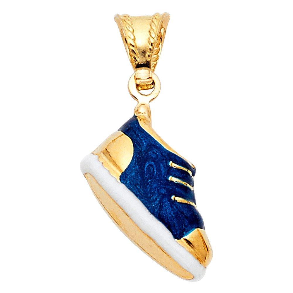 14k Yellow Gold Sneaker Enamel Pendant Charm