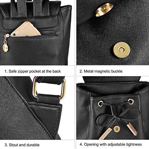 Backpacks,Sunroyal Women Girls Leather Schoolbags Travel Casual Shoulder Bag Mochila-Black by Sunroyal (Image #4)