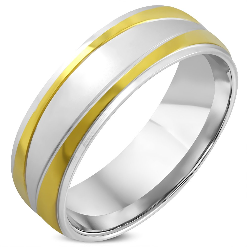 8mm Stainless Steel 2-tone Comfort Fit Half-Round Wedding Band Ring RCT502
