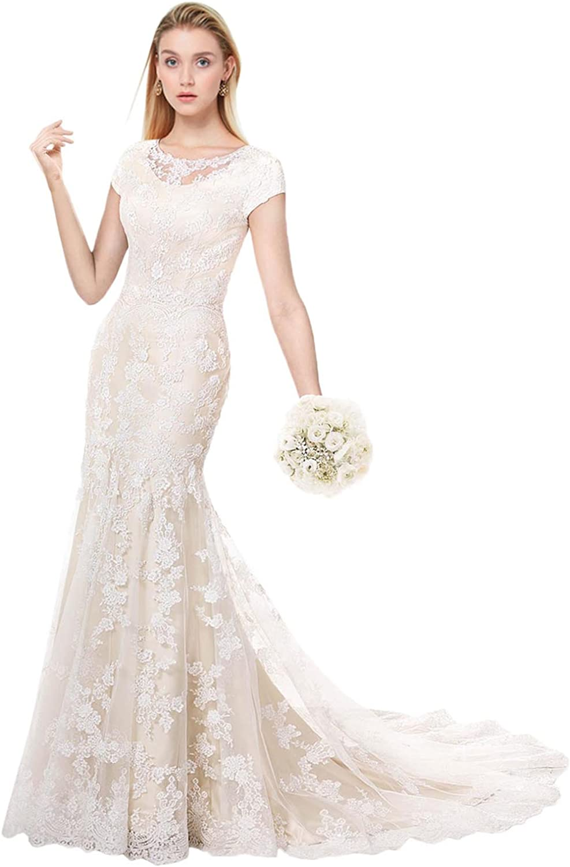 Milano Bride Modest Wedding Dress For Bride Short Sleeves Sheath