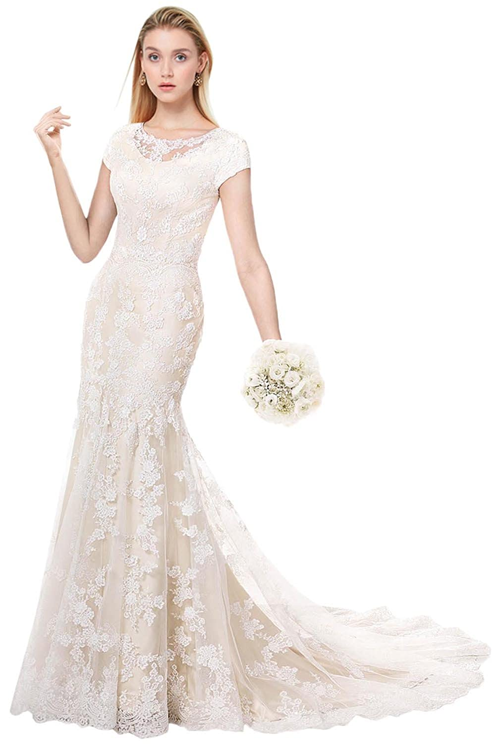 Modest Wedding Dress.Milano Bride Modest Wedding Dress For Bride Short Sleeves Sheath Floral Lace