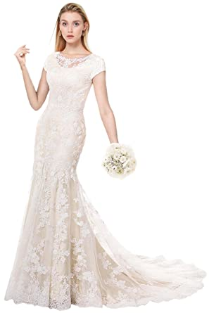 896f4737b9338 MILANO BRIDE Modest Wedding Dress For Bride Short Sleeves Sheath Floral  Lace-2-Light