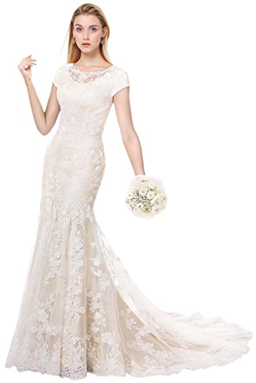 fd469a7161 MILANO BRIDE Modest Wedding Dress for Bride Short Sleeves Sheath Floral Lace