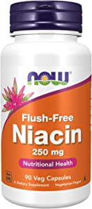 NOW Supplements, Niacin (Vitamin B-3) 250 mg, Flush-Free, Nutritional Health, 90 Veg Capsules
