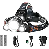 LED Headlamp, {5000 Lumens Max} 4 Modes Waterproof Head Flashlight Light with 2 Rechargeable Batteries, USB Cable, Wall Charger and Car Charger for Outdoor Sports
