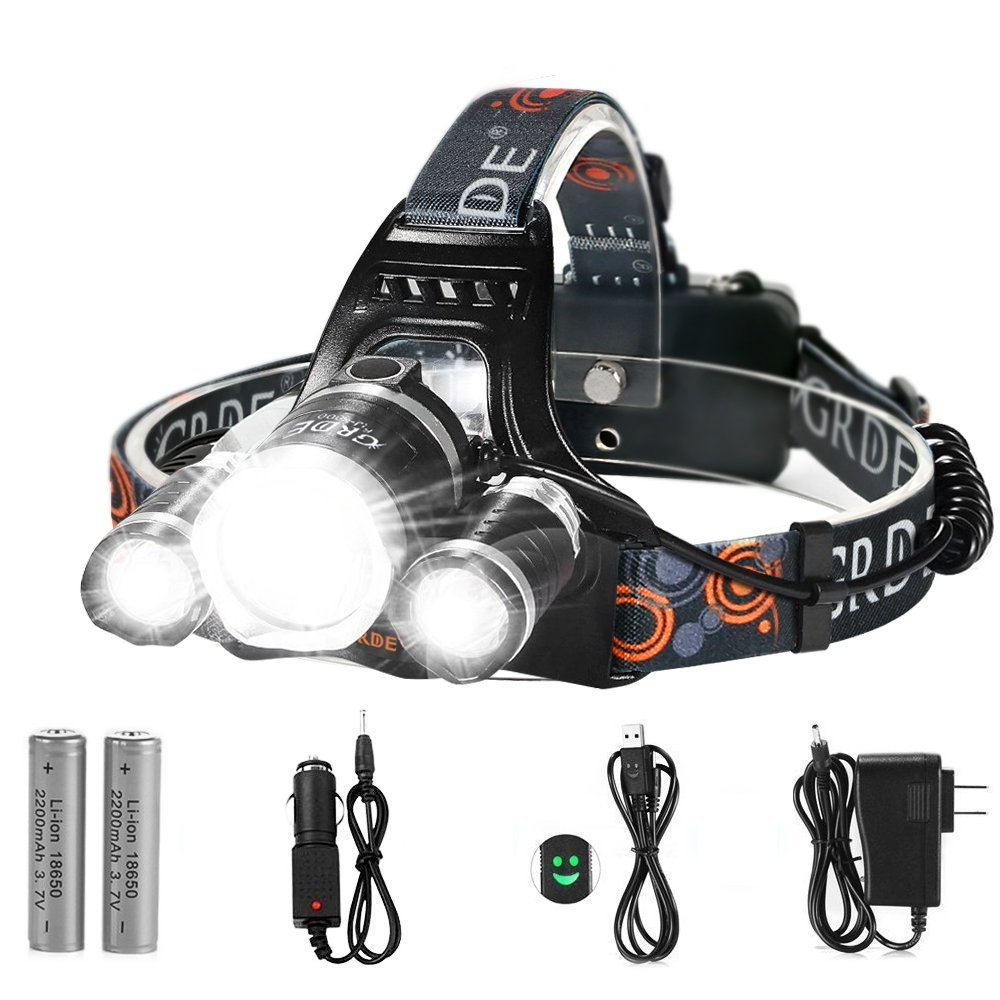 LED Headlamp, {5000 Lumens Max} 4 Modes Waterproof Head Flashlight Light with 2 Rechargeable Batteries, USB Cable, Wall Charger and Car Charger for Outdoor Sports by totobay (Image #1)
