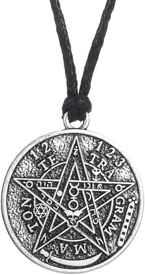 HQLCX Joyería del Encanto Antiguo Pendiente del Tetragrámaton Pentagram Collar Wicca Talisman Pagen Amuleto
