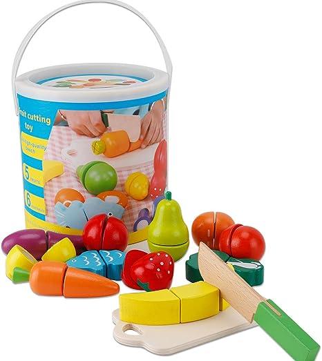 omyzan Juguetes de Madera Comida de Juguete para Niños Frutas y ...
