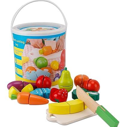 Juguete de madera para niños Corte de frutas Juguetes para bebés Cocina Juego Casa de simulación Vegetales Niños y niñas Juguetes Regalos Aprendizaje ...