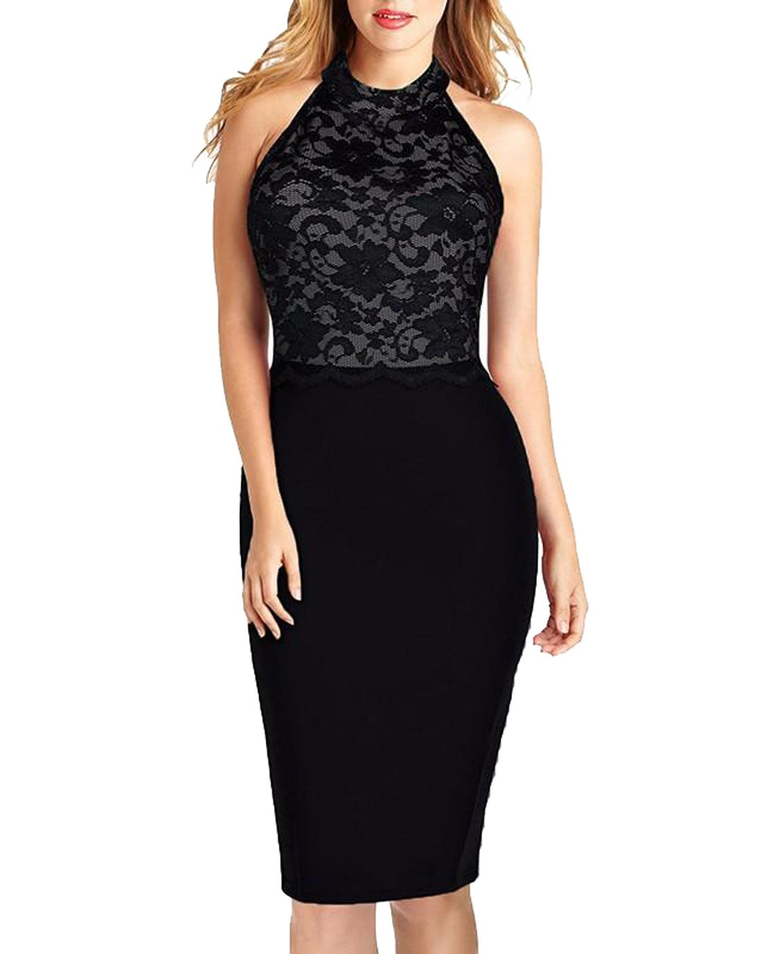 HELYO Women's Formal Vintage Lace Cocktail Party Elegant Midi Dresses Homecoming Gownslace 176 (M,Black)