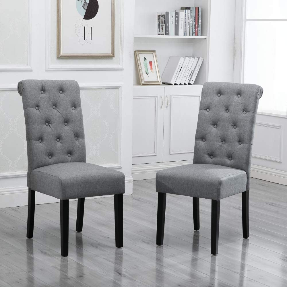 Boju Modern Dining Chairs With Button Pair Grey Fabric Upholstered Chairs Wood Black Legs Chairs Comfortable Restaurant Kitchen Furniture Chairs Set Of 2 Amazon Co Uk Kitchen Home