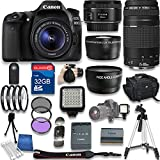 Canon EOS 80D DSLR Camera with Canon EF-S 18-55mm f/3.5-5.6 IS STM Lens + Canon EF 50mm f/1.8 STM Lens + Canon EF 75-300mm + 32GB SD Memory Card + Accessory Bundle - International Version