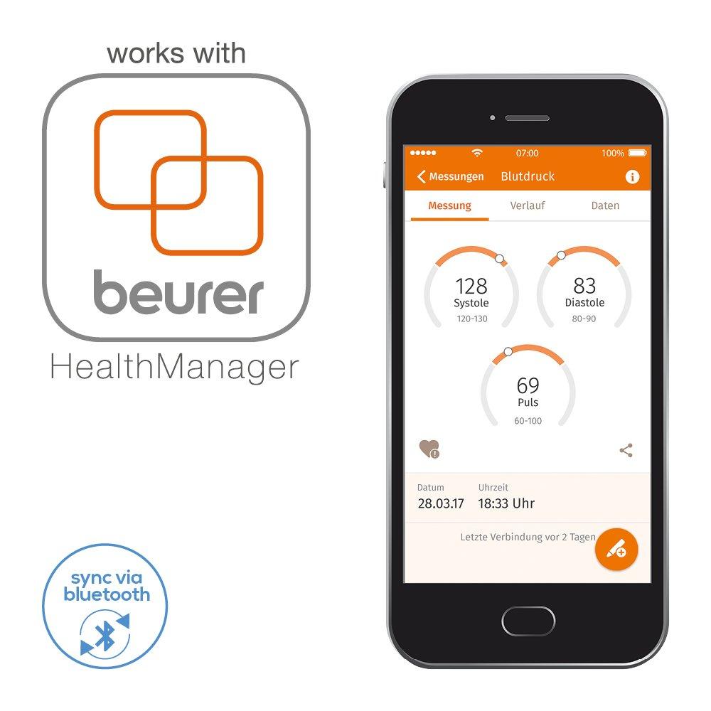 Beurer BC 57 Tensiómetro de Muñeca, Blanco, Función Bluetooth, Medición Automática, Aplicación Health Manager: Amazon.es: Salud y cuidado personal